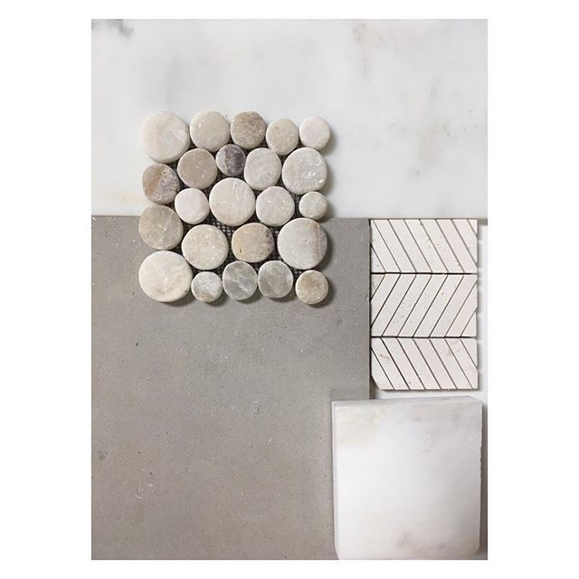 We made our final selections today for the #talegabeachhouseproject Master Bathroom and we are just a tad bit excited for the final outcome  // Calacutta Marble Shower, Light gray limestone floors, mystery white countertops and a chevron patterned limestone design for the shower cutouts // #surfaceconcepts #marbolis #psprogress
