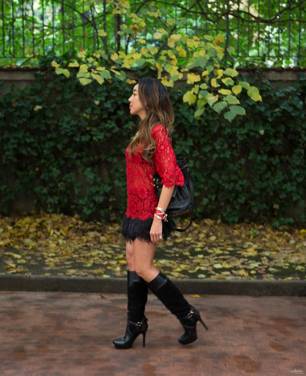 As we know that Red lace is the Star of the @Dolce & Gabbana collection FW 14. It make me feel so elegance adding a sensual touch! i recommend this Red lace top approaches to showing off your stylish side. Red is seasonal trendy and timeless!
