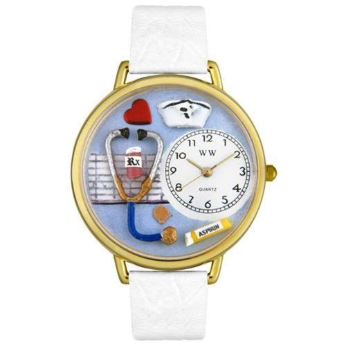 Whimsical Watches Unisex G0620013 Nurse White Leather Watch Whimsical Watches. $40.99. White, Nurse-theme dial. Secure buckle-clasp. Quality Japanese-quartz movement. Plastic crystal covering themed-dial. White Italian leather strap. Save 32%!