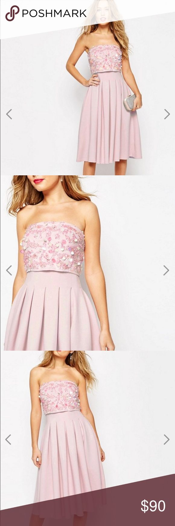ASOS SALON Embellished Bandeau Scuba Midi Dress US size 4/UK2! best equivalent to a small! Worn once for a wedding- excellent condition. Online it says its nude but the color is definitely light pink! ASOS Dresses Midi