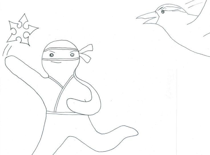 The Ninjabread Man throws a ninja star into the sparrow's