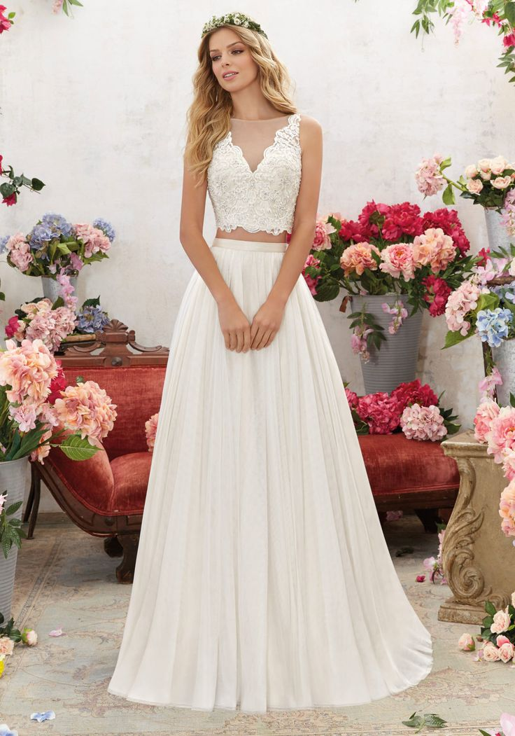 Morilee by Madeline Gardner 'Melina' 6856 | Perfect for the Boho Bride, This Two-Piece Wedding Dress Features a Crystal Beaded, Embroidered Bodice with Soft Net Skirt. Illusion Back Accented with Covered Button Detail. Colors Available: White, Ivory, Ivory/Light Gold. Shown in Ivory/Light Gold.