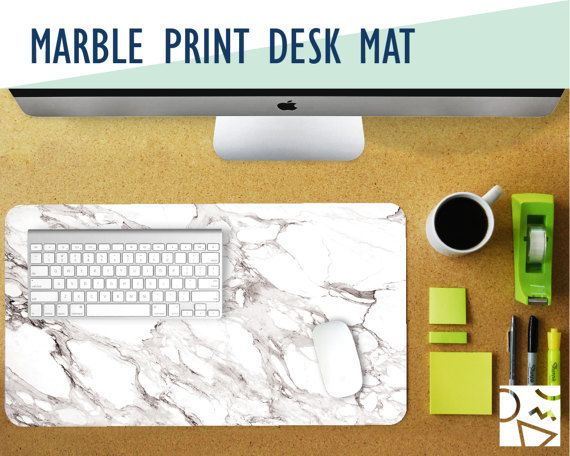 White Marble Print Desk Mat with Available Custom Monogram - 2 Sizes - High Quality Digital Print, Dye Sublimation - Home & Office