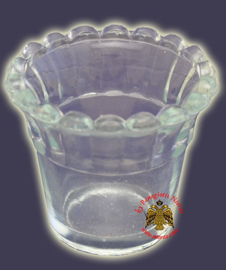Replacement Oil Candle Glass Cup Design Flower C' Clear, Glass Votive Cups, www.Nioras.com - Byzantine Orthodox Art & Greek Traditional Products - Byzantine Christian Icons, Mount Athos Incense, Orthodox Church Supplies, Wedding Gifts, Bookstore Supplies