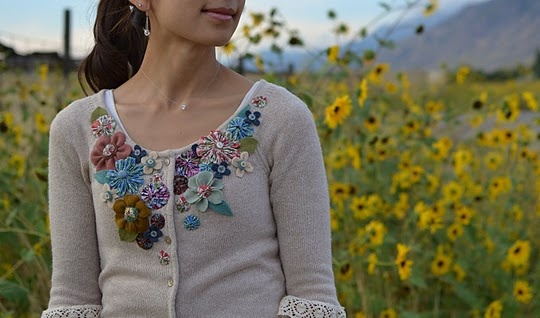 embellish cardi: Sweater, Craft, Idea, Clothing Refashion, Wears Flowers, Tea Roses, Embellished Flowered, Flowered Cardigan