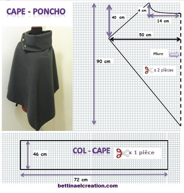 Bettinael.Passion.Couture.Made in france: DIY: Cape/ Poncho, tutoriel couture gratuit