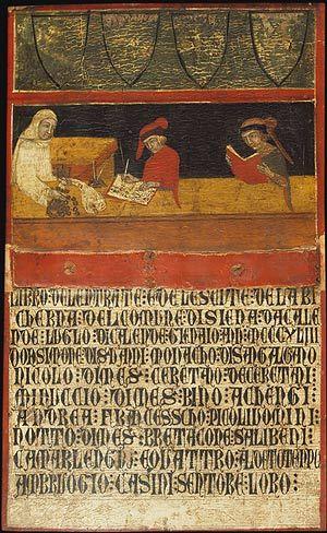 Book cover,1343 Italian. Tempera on wood.