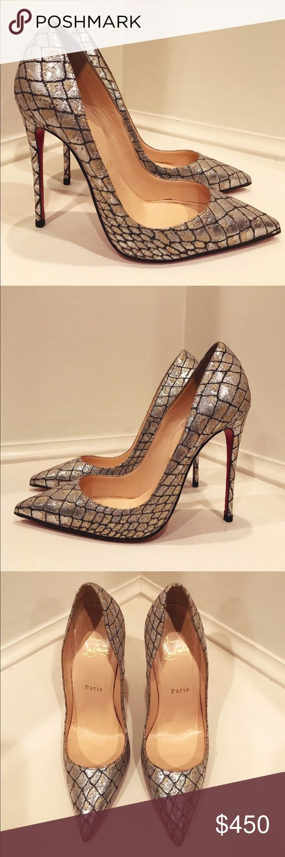 • Christian Louboutin • Decollete Snake Pump -Christian Louboutin  -100% Authentic -Decollete  -Snake-Embossed Metallic Point-Toe Pump -Silver -4' Stiletto Heel -Size 38 -Soles were Professionally Re-Painted  -No Damage or Ware  -Excellent Condition  -No box, only dust bag Christian Louboutin Shoes Heels