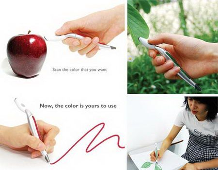 Any artist or designer who works with color knows that the best inspiration and perfect coloration can often be found in real-life objects all around us. What if you could take your trusty drawing pen and simply scan any color you want and then turn around and draw with it? This innovative pen design by Jin Sun Park allows you to do just that. Next step? A complete texture selector and replicator?    A color sensor on the top of the pen registers the color of the object you select.