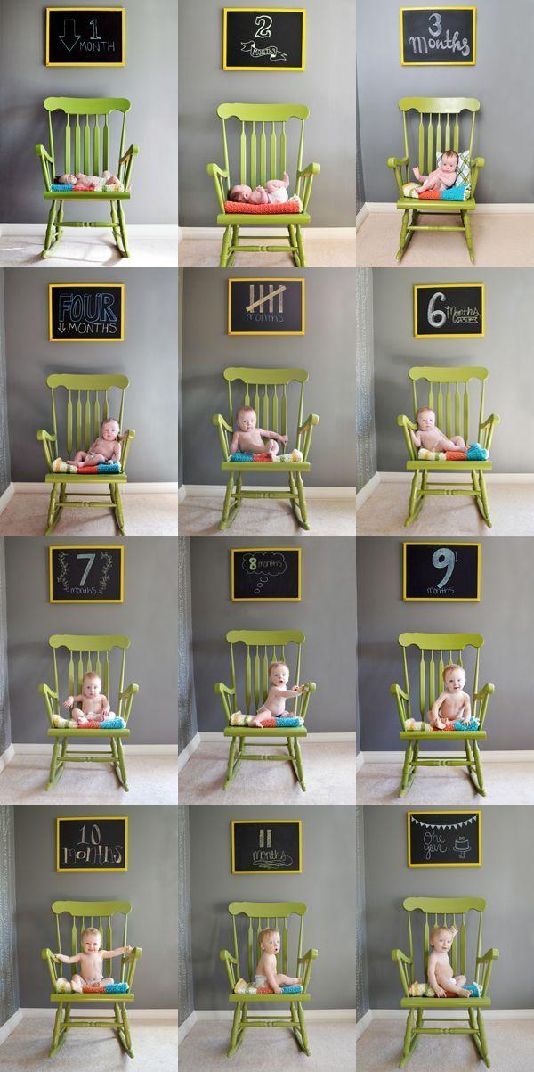 Una serie de fotos todos los meses para poder ver su evolución mes a mes. El primer año de vida de un bebé es maravilloso, el mejor recuerdo que puedes tener de tu bebé