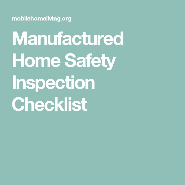 Manufactured Home Safety Inspection Checklist