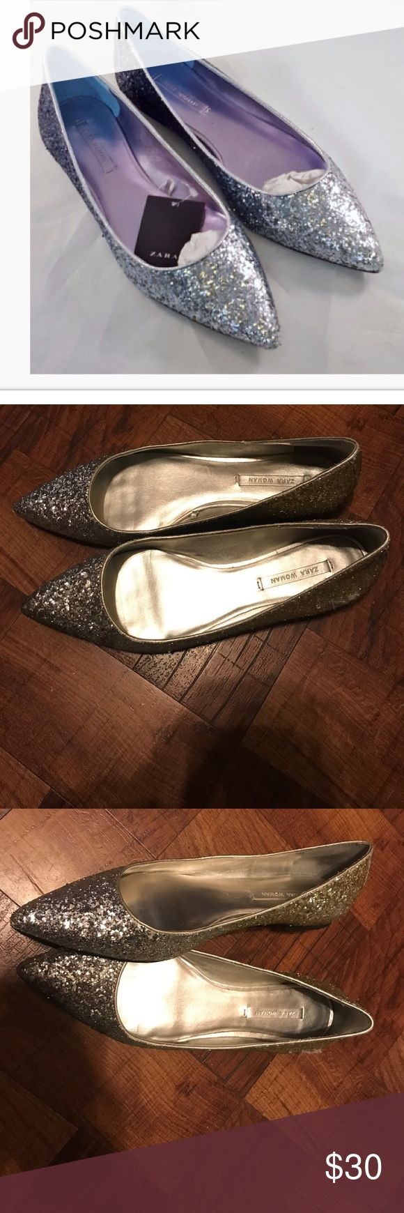 Zara flats Women's Metallic Glitter Pointed Ballet Flats Glitter Pointed Ballet Flats Zara Shoes Flats & Loafers