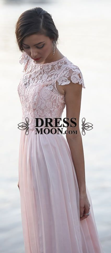 Elegant Floral chiffon lace with short sleeves modest long Pastel bridesmaid dress
