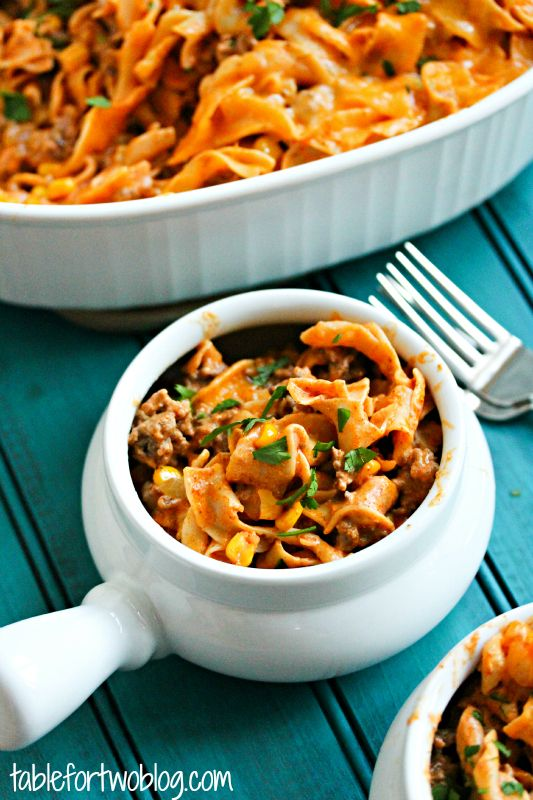 Enchilada Pasta Casserole » Table for Two,  Modify the recipe using gluten free pasta. I would make it dairy free to with cheese substitutes too. And use turkey instead of beef.