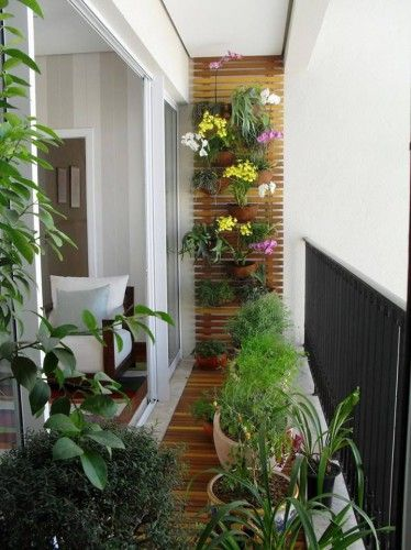 slatted wall with plants/flowers