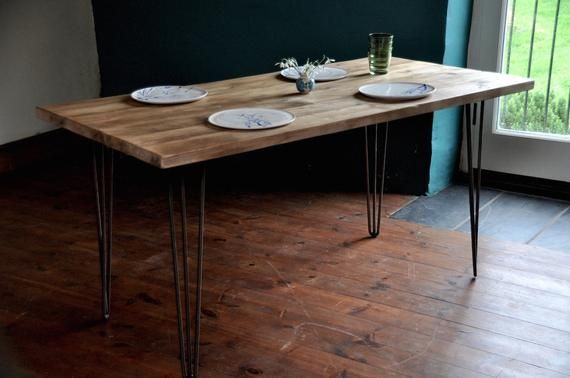 Dining Table Authentic Reclaimed Rustic Wood On Hairpin Legs