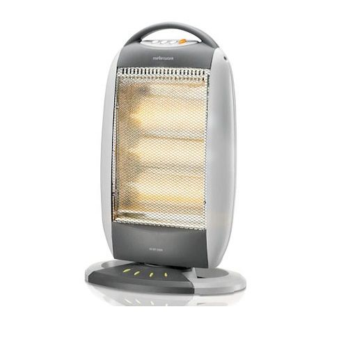 Mellerware 3 Bar Halogen Heater – e-Stolo Price: R499.95  Carry handle. 3 heat sections. Automatic tip over cut-out protection. Oscillating functions.