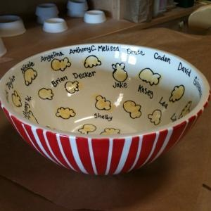 Fingerprint popcorn bowl - you can create this at a paint your own ceramic studio. Great Gift