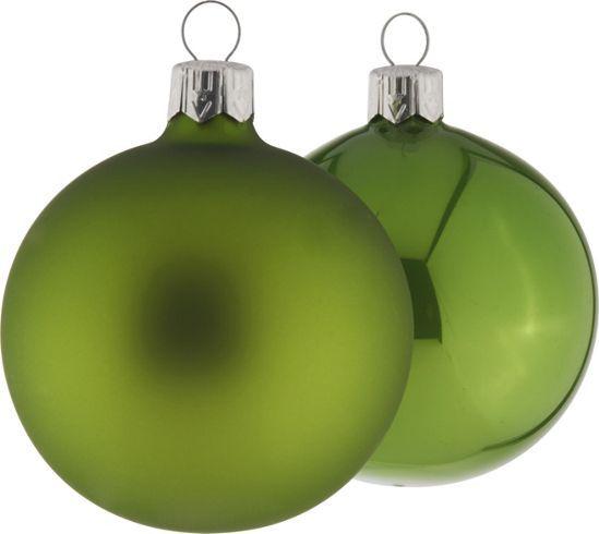 Grüne Christbaumkugeln aus Glas, in der 15 Stück Packung.