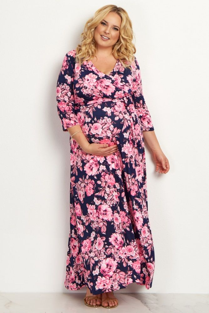 This gorgeous floral plus size maternity maxi dress is everything we want this season. A draped style and sash tie detail will show off your bump beautifully while keeping you comfortable, and a v-neckline makes nursing after pregnancy easy. Just style this dress with wedges and a statement necklace to dress it up for any occasion.