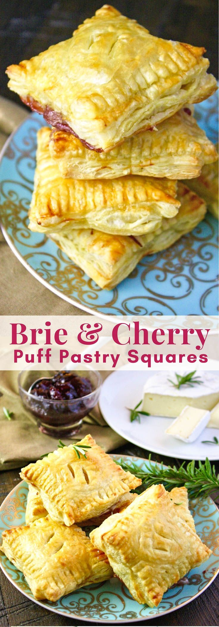 Easy Brie and Cherry Puff Pastry Squares make an elegant and easy-to-make appetizer. This is a great appetizer to make, just in time for the holidays!
