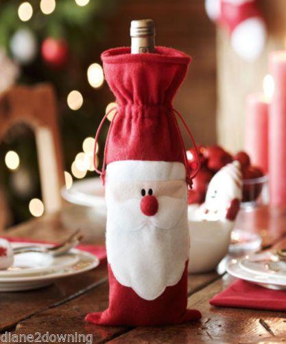 Santa Wine Bottle Cover Christmas Table Decoration new Avon