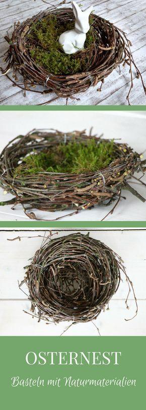 Bastelidee Ostern: Dieses Osternest aus Birkenreisig ist eine wunderschöne Osterdeko für draußen und drinnen. Das Basteln mit Naturmaterialien macht nicht nur viel Spaß, sondern ist auch sehr kostengünstig. Nach dem Osternest basteln kann man das Osterkörbchen als Ostern Tischdeko, als Ostern Geschenkidee oder als Nest zum Eierverstecken verwenden. Das Osternest flechten ist einfach und daher auch eine schöne Osterbastelidee für Kinder.