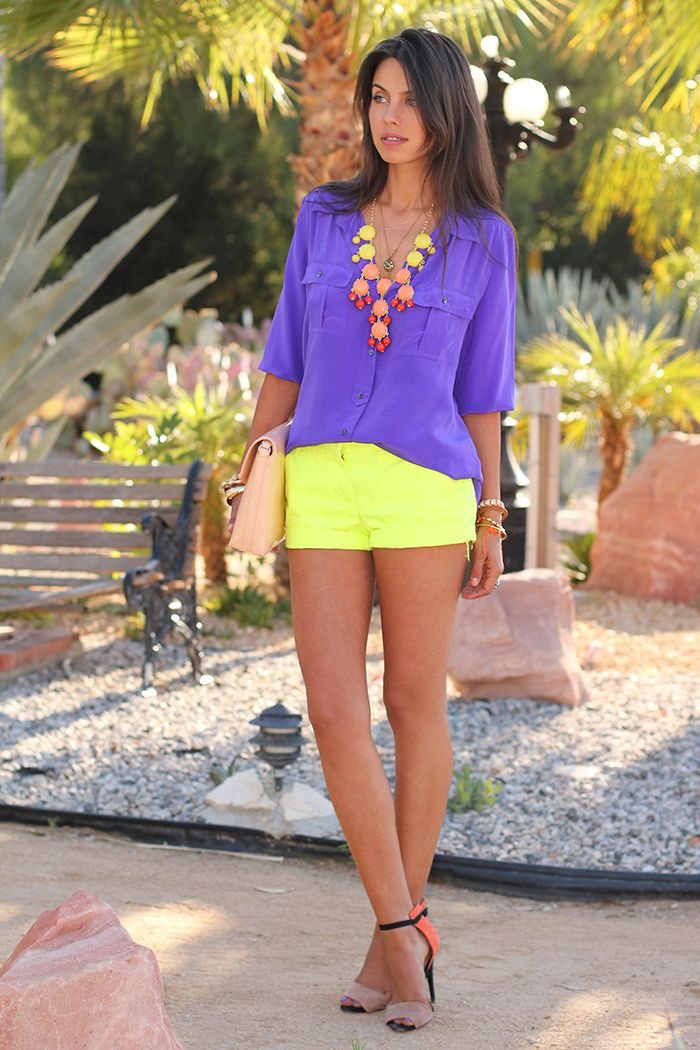 Short Tempered: Neon Shorts, Colors Combos, Yellow Shorts, Statement Necklaces, J Crew Shorts, Summer Outfits, Colors Blocks, Bright Colors, Neon Yellow