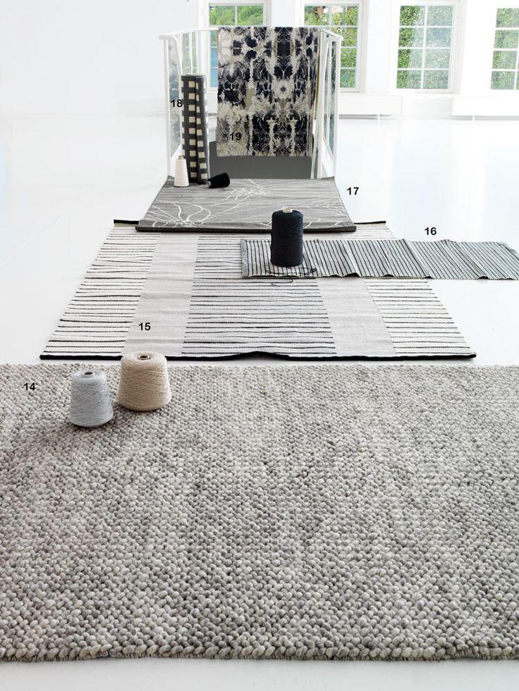 14. Kraftig handgjord matta Loop. Melerad grå, ull, 170x240 cm, Bolia