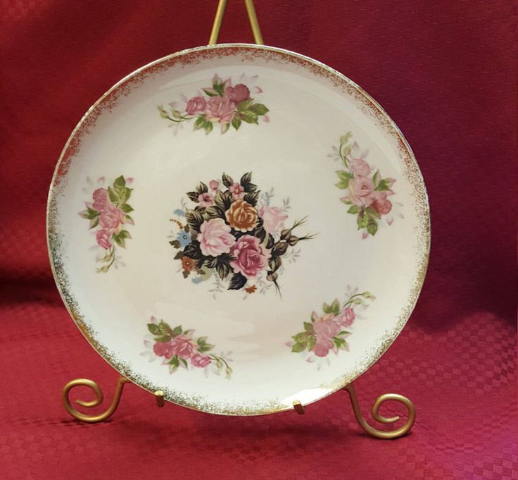 Vintage Pink \u0026 Gold Rose Cake Plate Wall Decor Plate Dining Serving Kitchen Home Bedroom Bath Decor TV Movie Decor. Large PlatesDecorative ... & 193 best Decorative Plates / Wall Art images on Pinterest ...