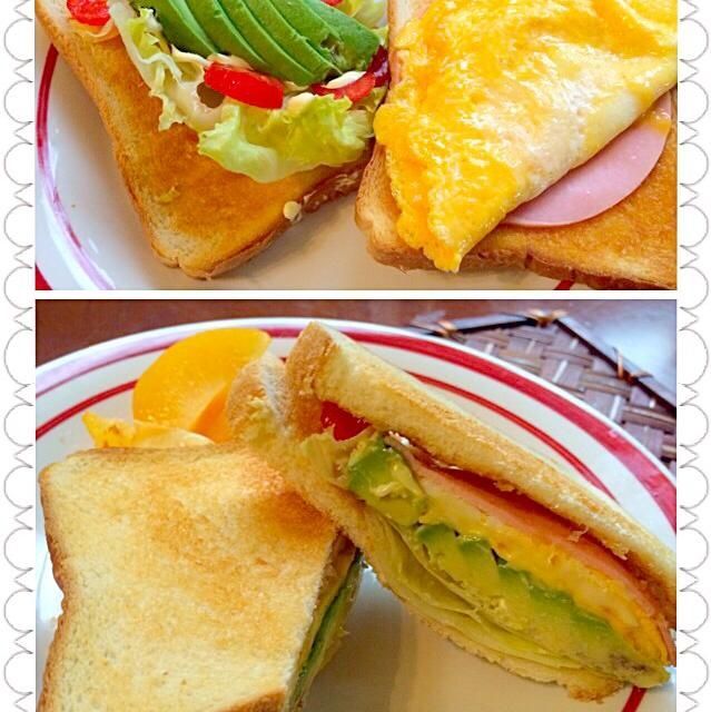 せっかくのお休みなのに...凄い雨だなぁ - 61件のもぐもぐ - ALECHT sandwichアボカド・レタス・卵・チーズ・ハム・トマトの欲張りサンドウィッチ by honeybunnyb