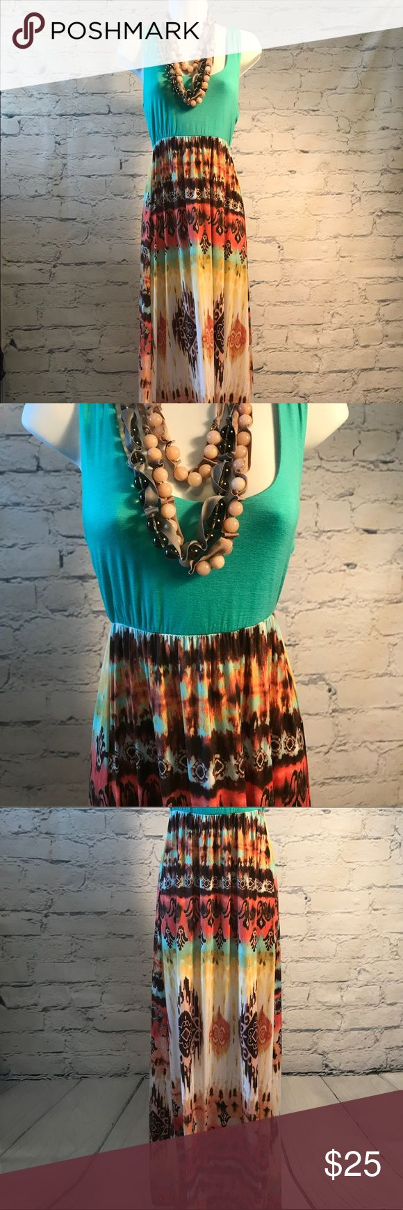 Summer Maxi Dress Turquoise Turquoise And Peach Tone Summer Maxi Dress NWT No Trades Dresses High Low