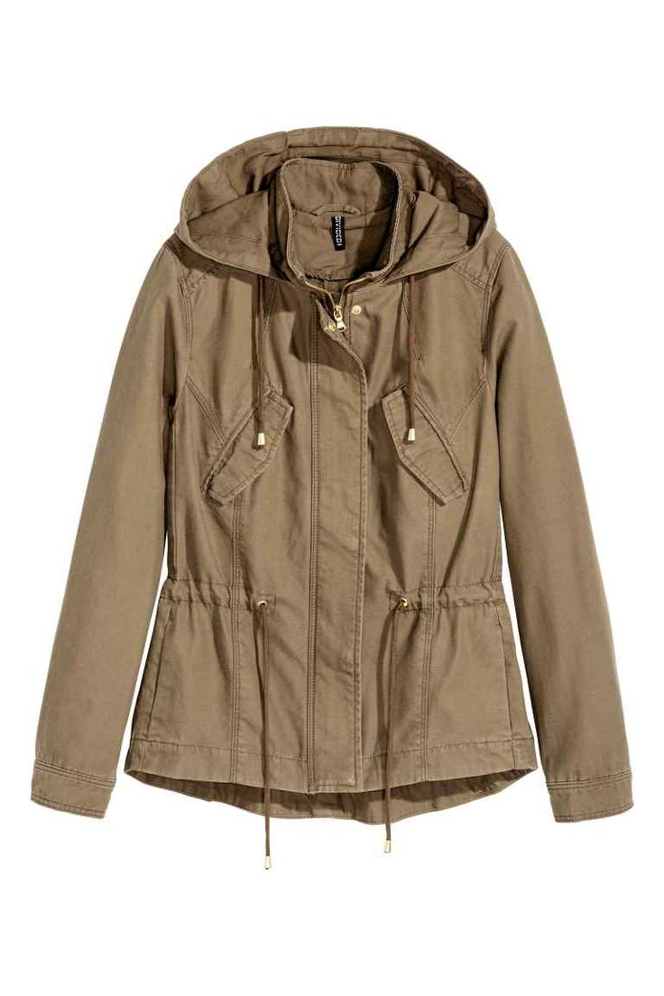 Cotton parka: Parka in washed cotton twill with a stand-up collar, drawstring…