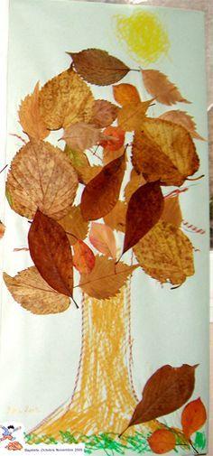 Faire avec les enfants un collage d'arbre avec feuilles d'automne