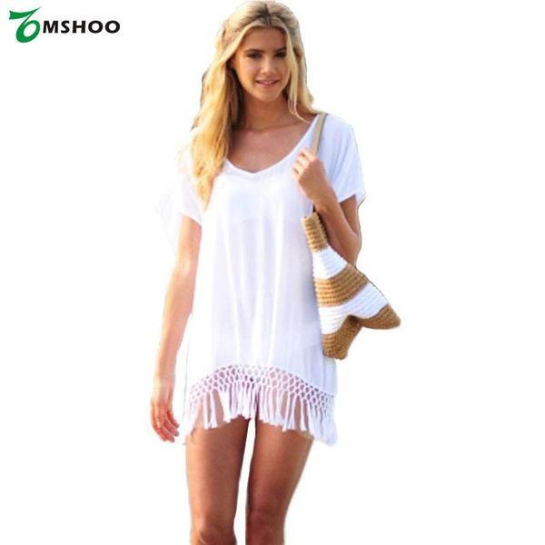 Chiffon Cover Up - V-Neck - Short Sleeve - Loose Beach Dress - White