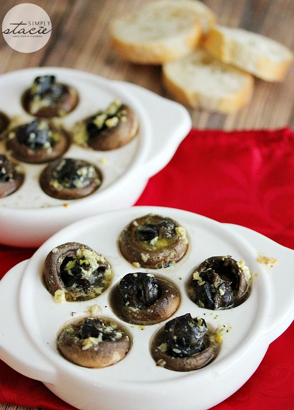 Escargots in Mushroom Caps with Garlic Butter - Your guests will think you've hired a professional chef when you serve this delicious appetizer.