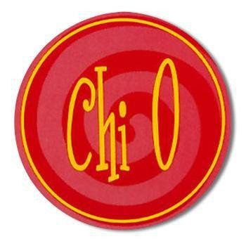 Chi Omega Round Sticker. Four Inch Diameter. Use them on notebooks, file folders, gift boxes, gift bags. Give them with a card for an inexpensive gift. Purchase other Chi Omega Gifts and create your o