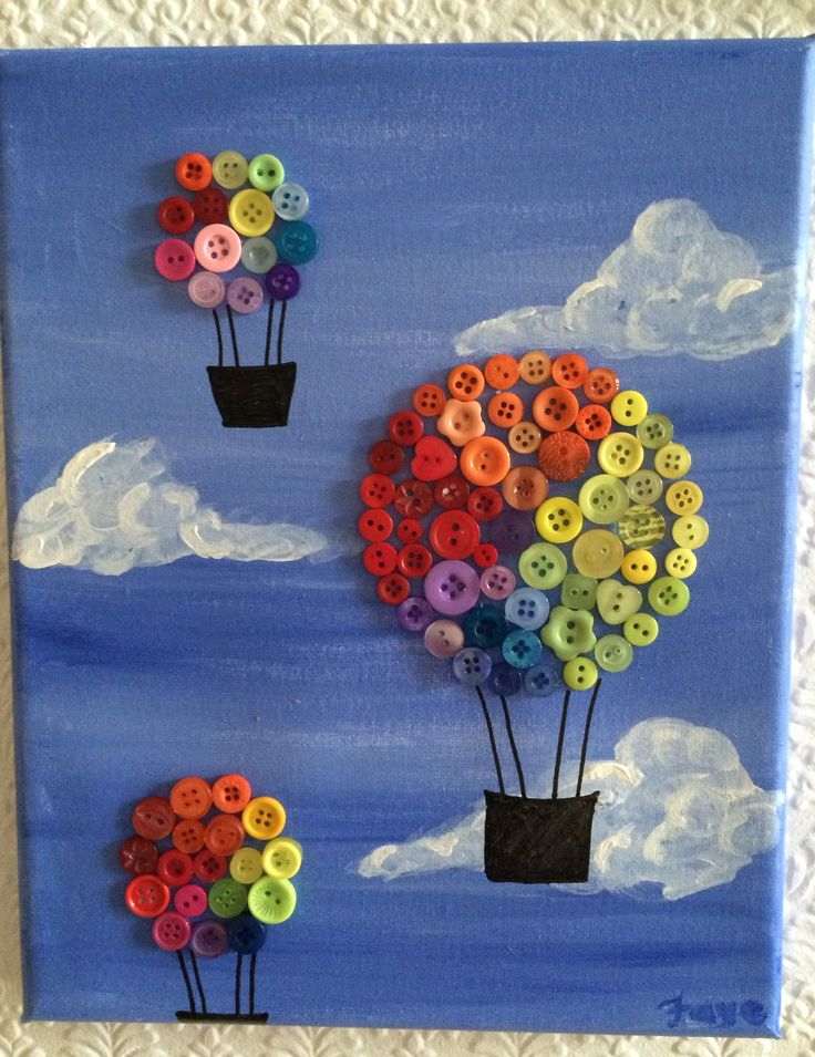 Rainbow Balloons Canvas Painting, made by myself. Using acrylic paint, different coloured buttons & black marker pen. Art with Flowers original £10+p&p