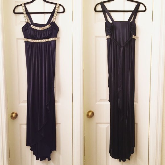 NWOT Navy gown Satin dress with rhinestone details. Top center rhinestone may be missing from each strap. However, that may have been intentional. Dresses