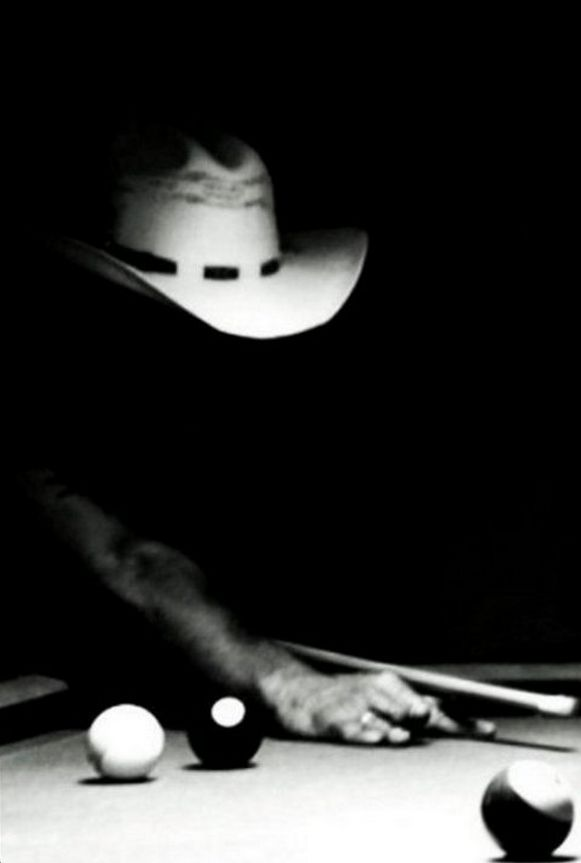 https://www.youtube.com/user/Bilijar9 - cowboy | wild west | billiards | pool table | black and white photography | light and shade |