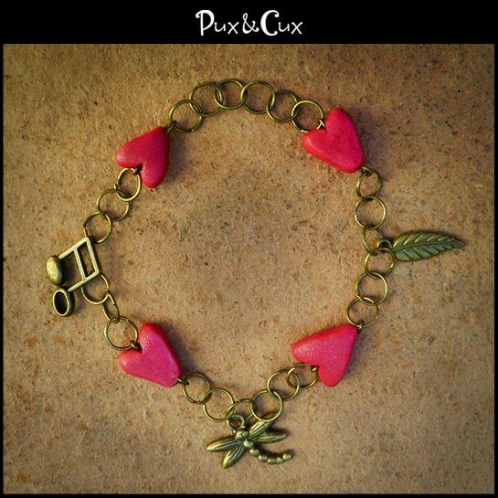 Pulsera Corazones #corazón #corazones #pulsera #handmade #polymerclay #hechoamano #arcillapolimérica #fimo #clay