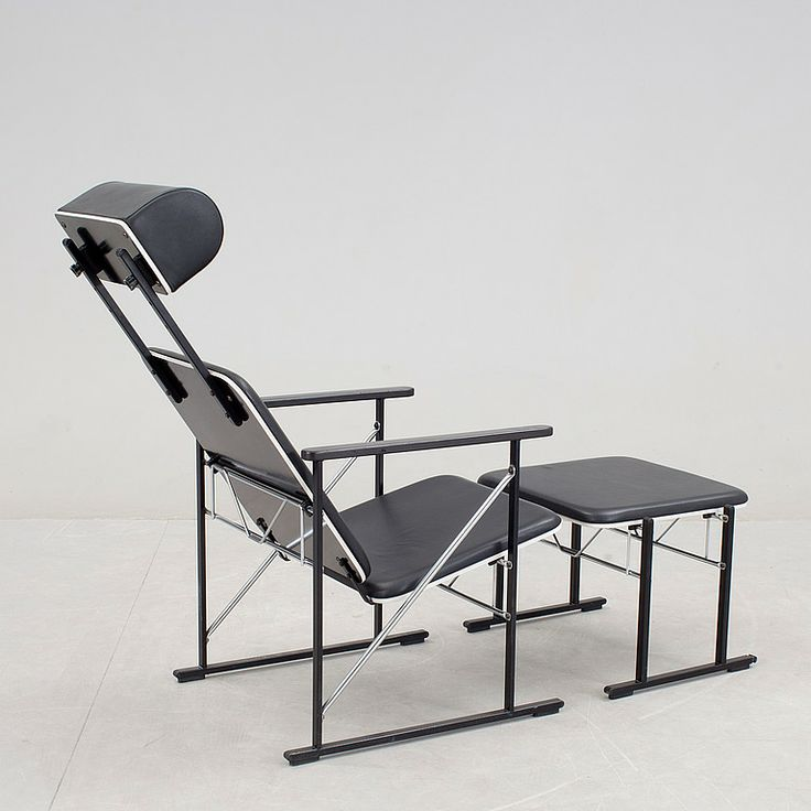 Yrjö Kukkapuro; Lacquered Wood, Chromed and Enameled Metal and Leather Lounge Chair and Ottoman, 1980s.