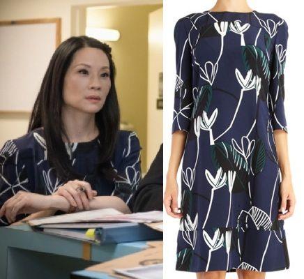 Elementary Season 2, episode 20: Joan Watson's (Lucy Liu) navy blue, floral…