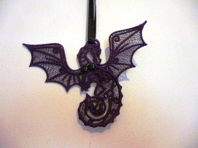 Beautiful Lace Dragon with movable wings. by Trufio on Etsy