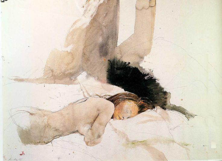 "peinture:  Andrew Wyeth,  de la suite ""Helga""  aquarelle"