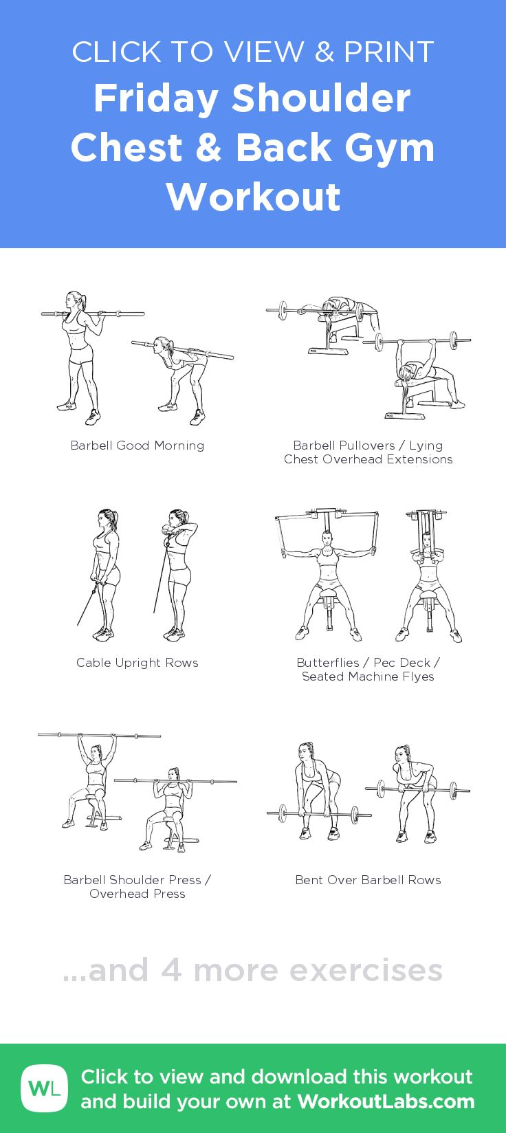 Friday Shoulder Chest & Back Gym Workout – click to view and print this illus… – Work out videos