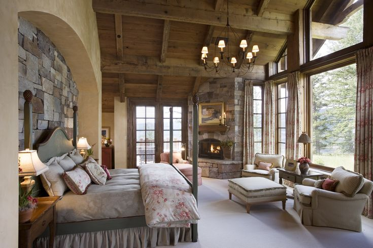 Stone Wall Mountain Lodge Wood Ceiling Master Bedroom Custom Bedding Designed By Locati