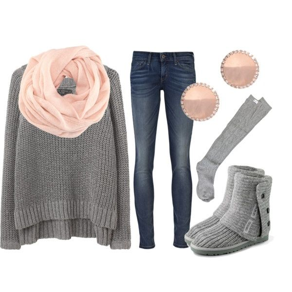 Gray Ugg boots + skinny jeans + oversized sweater + scarf, love the pink and grey