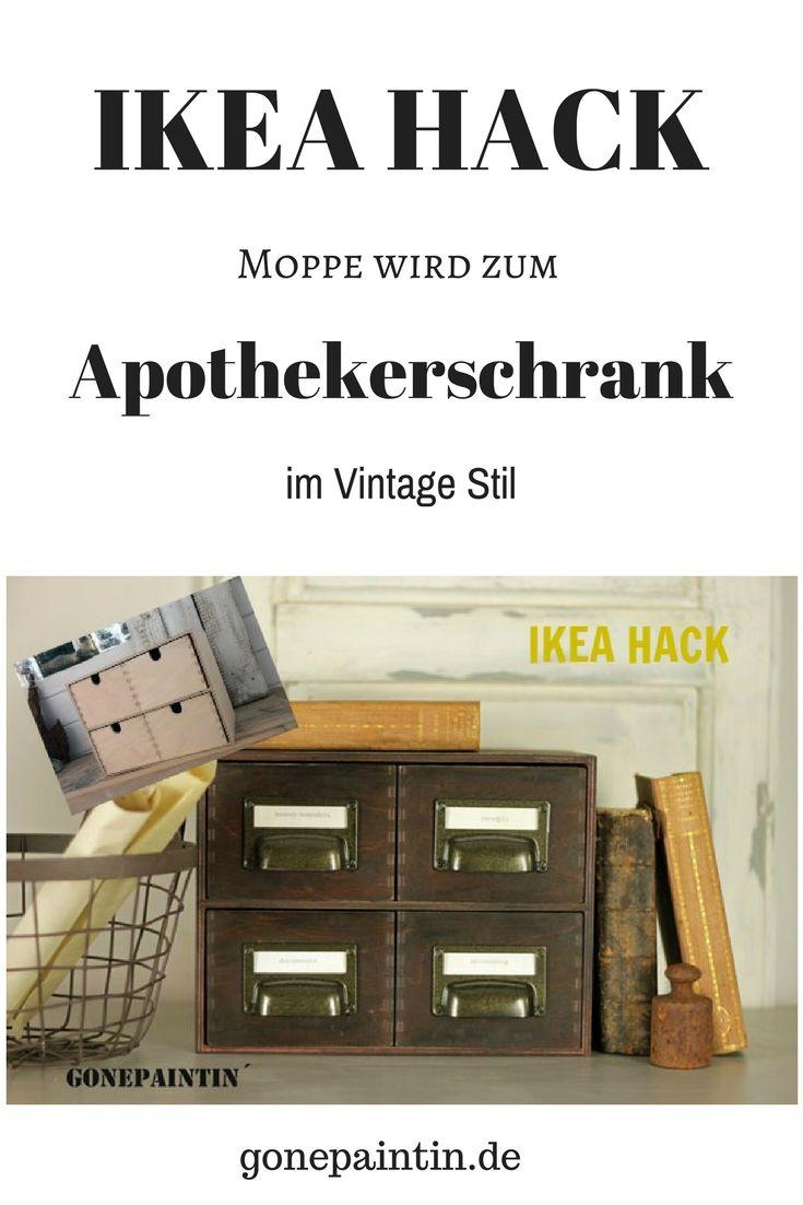 Achtung IKEA HACK! Die kleine Moppe wird zum Vintage Apothekerschrank! Schritt-für-Schritt Anleitung zur Umgestaltung der Ikea Moppe.
