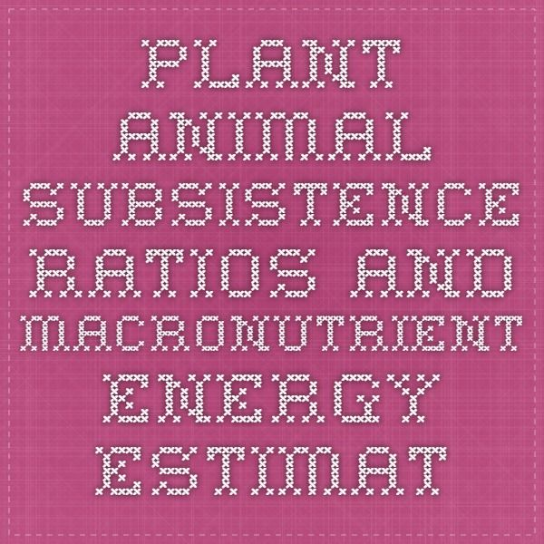 Plant-animal subsistence ratios and macronutrient energy estimations in worldwide hunter-gatherer diets.
